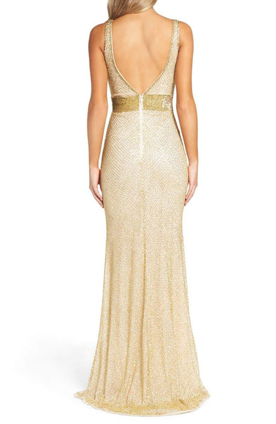 Beaded Mesh Gown Gold Reach Multiplier