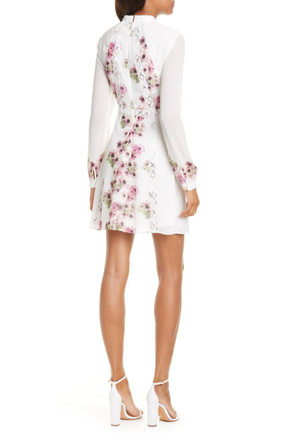 Sundee Floral Lace Trim Long Sleeve Minidress Reach Multiplier