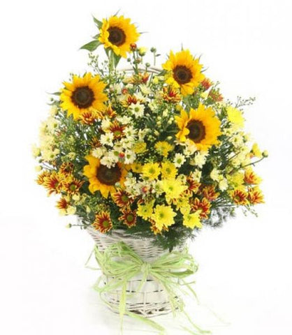 Summer Sunflowers Basket