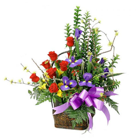 Iris and Rose Basket