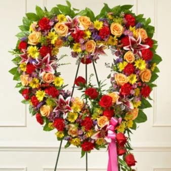 Bright and Cheery Heart Wreath