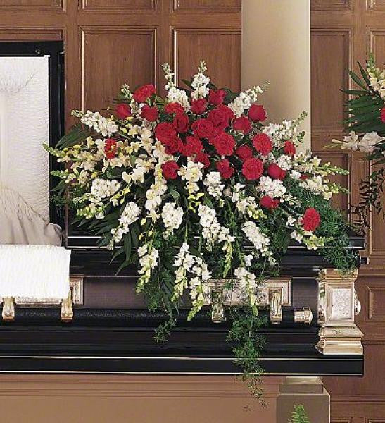 Red And White Casket Spray De Young Flowers