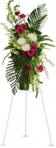 Gerberas and Palms Standing Spray