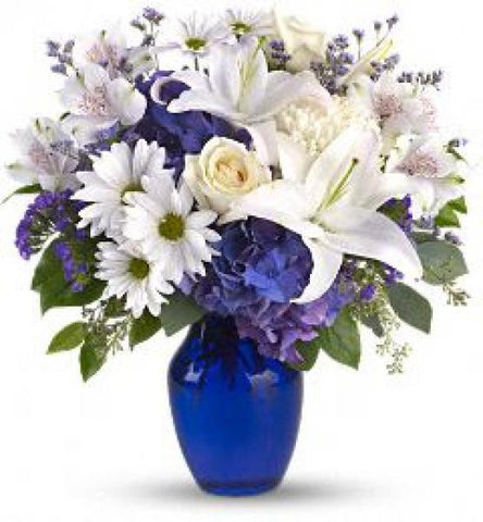 Beautiful Blues Vase Arrangement