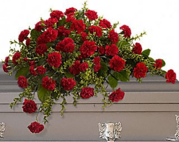 Red Carnation Casket Spray De Young Flowers