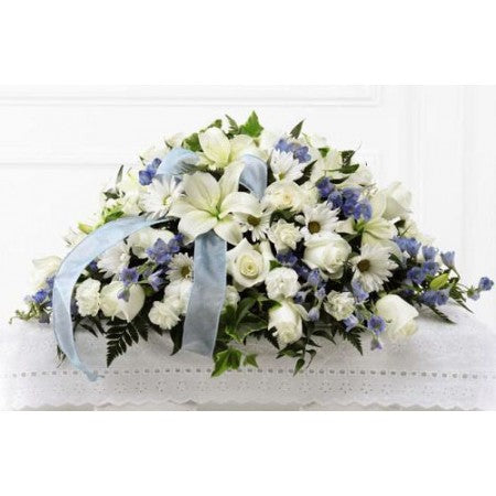 Delicate Blue Baby Casket Spray