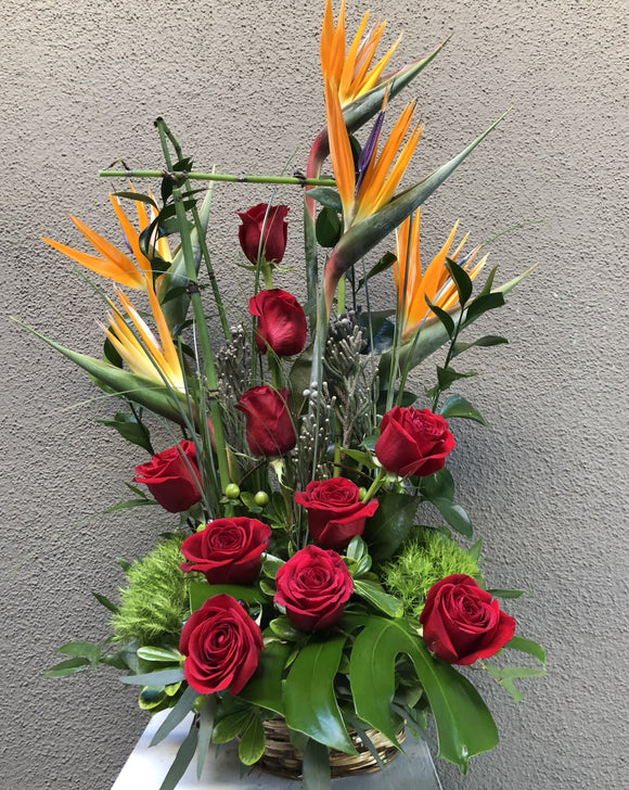 Rose and Bird of Paradise Basket