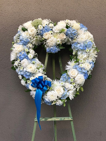 Lush Blue and White Open Heart