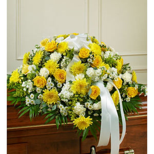 Yellow and White Tribute Casket Spray