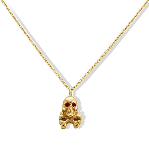 14kt Gold Skull Ruby Eyes Necklace