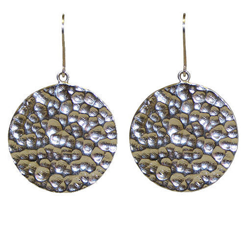 Earth Hammered Disc Earrings