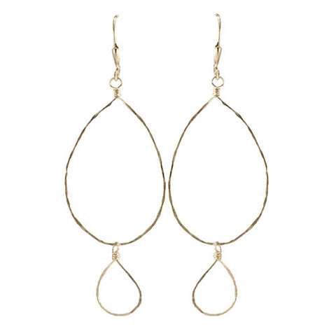 Hammered Double Loop Earrings