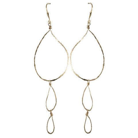 Triple Hammered Loop Earrings