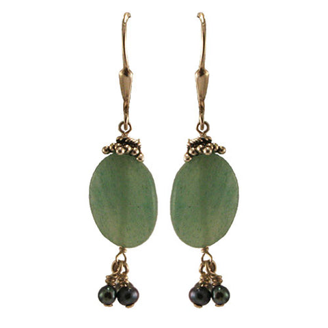 Aventurine Pearl Earrings
