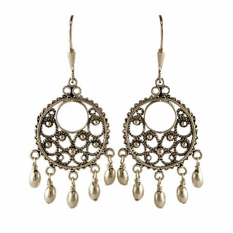 Silver Round Filigree Chandelier Earrings