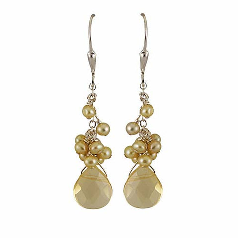 Yellow Quartz Pearl Cluster Earrings