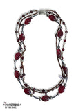 Queen Elizabeth Garnet Triple Czech Glass Necklace