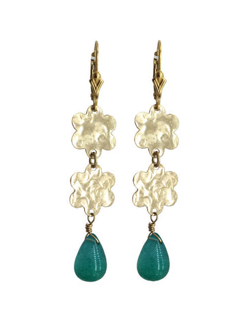Double Flower Green Agate Earrings
