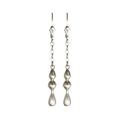 Sterling Silver Beaded Long Drop Earrings