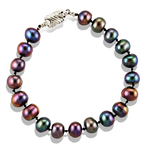 Hand Knotted Black Pearl Bracelet