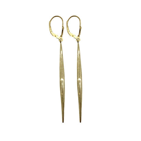 Brass Long Quill Earrings