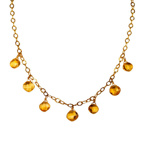 Citrine Mughal Gold Fill Necklace