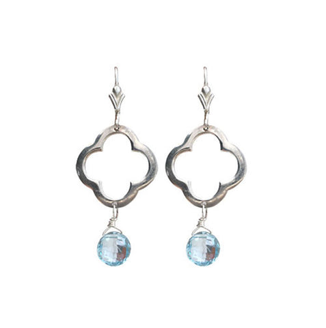 Sterling Silver Clover Blue Topaz Earrings