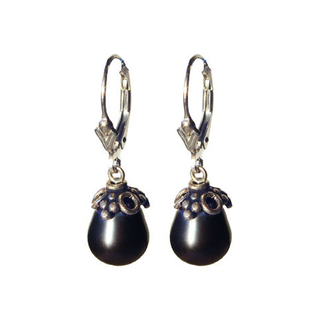 Dark Gray Pearl Drop Earrings