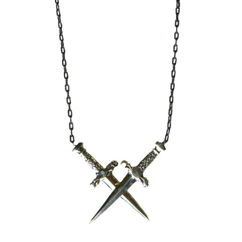 Sterling silver Double Dagger Necklace