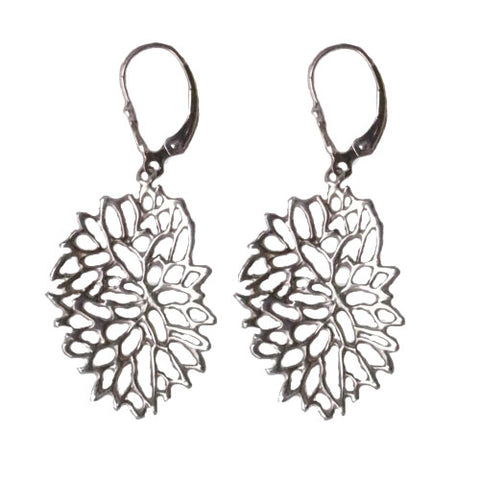 Sterling Silver Mum Flower Earrings