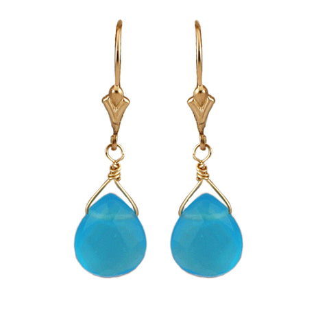 Gold Fill Turquoise Blue Quartz Drops