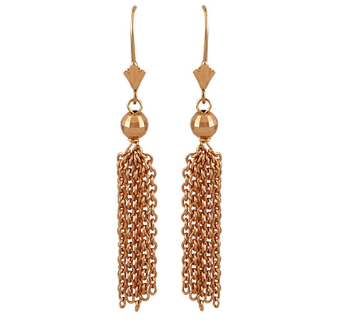 14kt Rose Gold Tassel Earrings