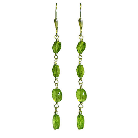 Soho Peridot Four Stone Drop Earrings