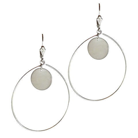 Sterling Silver Full Moon Hoops