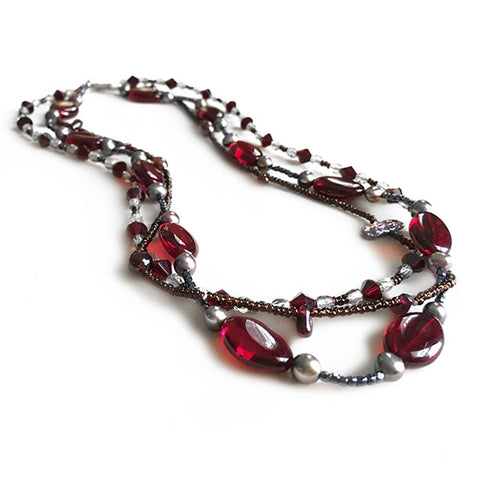 Queen Elizabeth Triple Czech Garnet Necklace