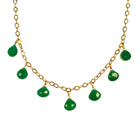 Green Onyx Gemstone Gold Fill Necklace