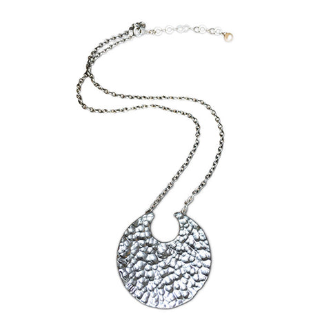 Sterling Silver Hammered Moon Necklace