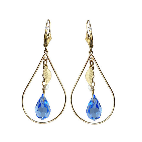 Leaf Charm Blue Crystal Earrings