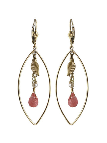 Leaf Charm Cherry Quartz Earrings