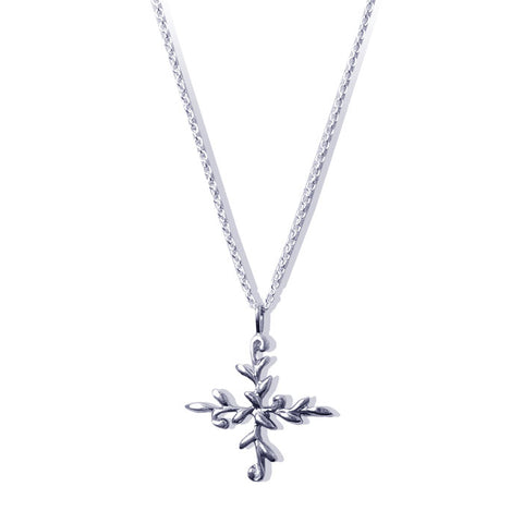 Sterling Silver Leafy Orthodox Cross Necklace