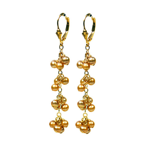 Midori Champagne Pearl Earrings on Gold Fill