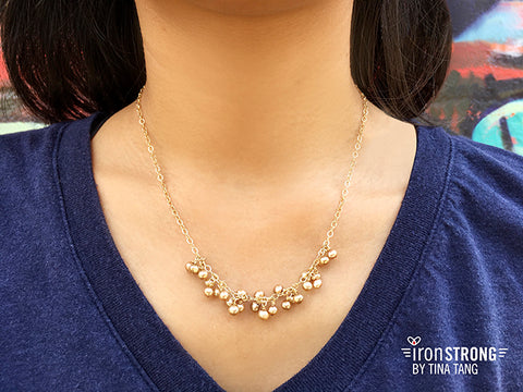 Midori Champagne Pearl Necklace on Model
