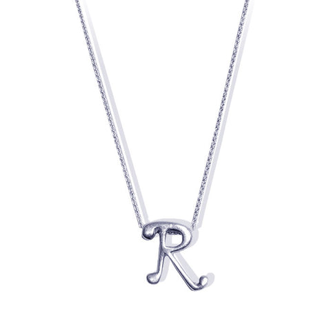 Sterling Silver Monogram R Necklace