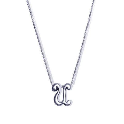 Sterling Silver Monogram U Necklace