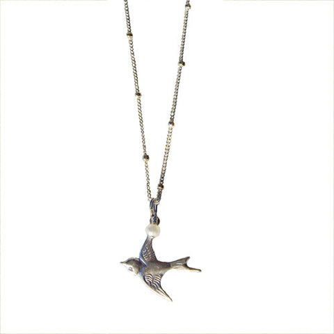 Silver Flying Bird with Pearl Necklace