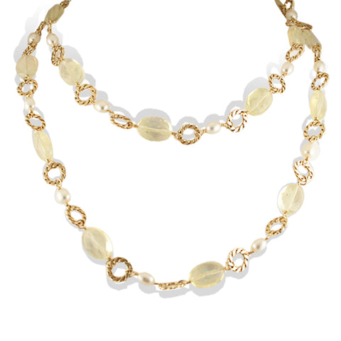 Royal Chanel Lemon Quartz Pearl Necklace