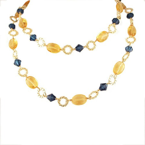 Blue Yellow Czech Necklace