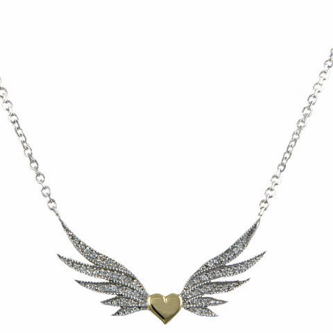 14kt Gold Diamond Winged Heart Necklace