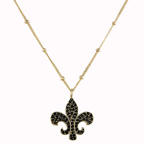 14kt Gold Black Diamond Fleur De Lis Necklace
