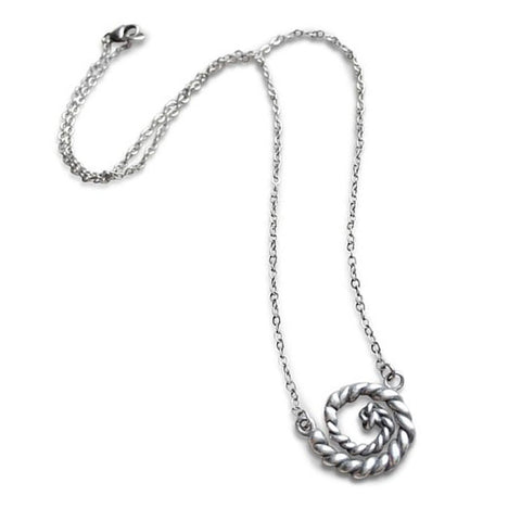 Sterling Silver Nautical Swirl Necklace
